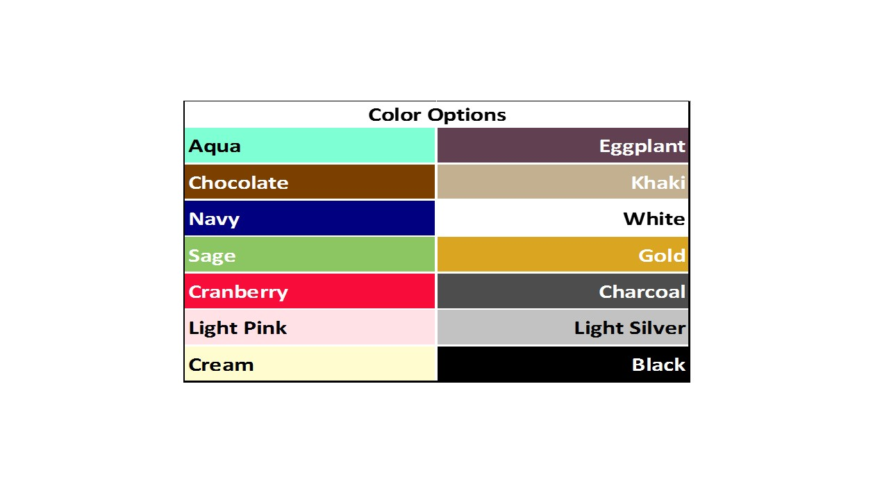 Bed Sheet Fundraiser Color Options